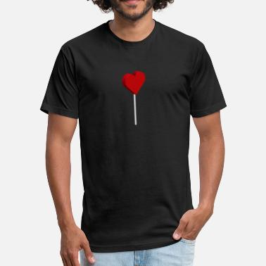 Lollipop 3D Heart Lollipop - Fitted Cotton/Poly T-Shirt by Next Level