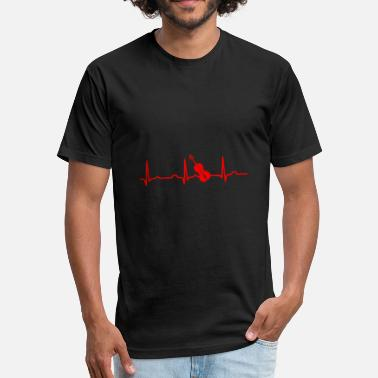 Red Guitar GIFT - ECG GUITAR RED - Fitted Cotton/Poly T-Shirt by Next Level