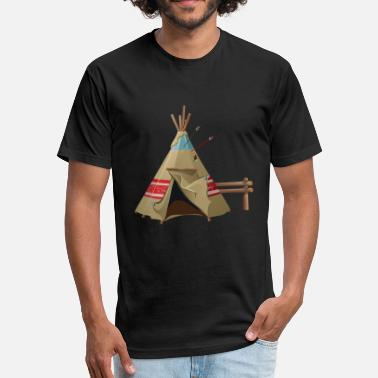 Wigwam Indian wigwam house cool art illustration awesome - Fitted Cotton/Poly T-Shirt by Next Level