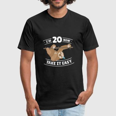 20 Bday Fun Sloth Birthday Boy Girl BDay Gift Age 20 Year - Fitted Cotton/Poly T-Shirt by Next Level