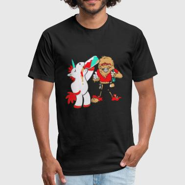 Drink - drink unicorn, drinking sasquatch/bigfoo - Fitted Cotton/Poly T-Shirt by Next Level
