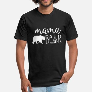 Papa Mama Baby Bear Mama bear - papa mama baby bear vintage distress - Fitted Cotton/Poly T-Shirt by Next Level