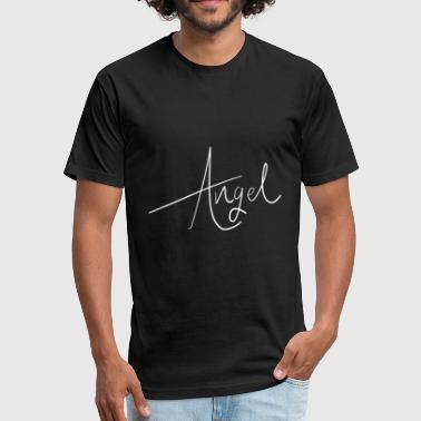 Angel Handwriting for Halloween or Bachelorette - Fitted Cotton/Poly T-Shirt by Next Level