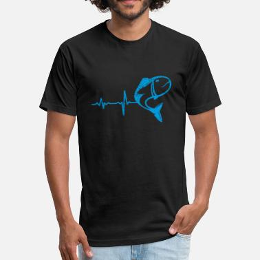 Fishing Heartbeat gift heartbeat fishing 02 - Fitted Cotton/Poly T-Shirt by Next Level