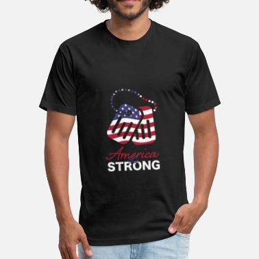 Army Tags America the Strong toe tags army 4th of July - Fitted Cotton/Poly T-Shirt by Next Level