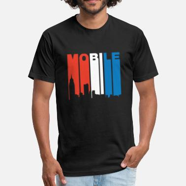 Mobile Alabama Red White And Blue Mobile Alabama Skyline - Fitted Cotton/Poly T-Shirt by Next Level