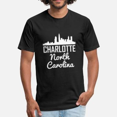 Charlotte North Carolina Charlotte North Carolina Skyline - Fitted Cotton/Poly T-Shirt by Next Level