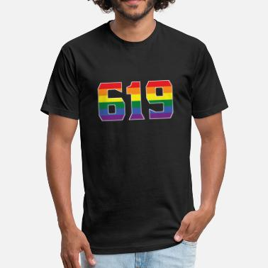 619 San Diego Gay Pride 619 San Diego Area Code - Fitted Cotton/Poly T-Shirt by Next Level