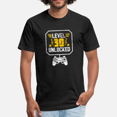Unlocked Gaming LEVEL 30 UNLOCKED 30th Birthday - Fitted Cotton/Poly T-Shirt by Next Level
