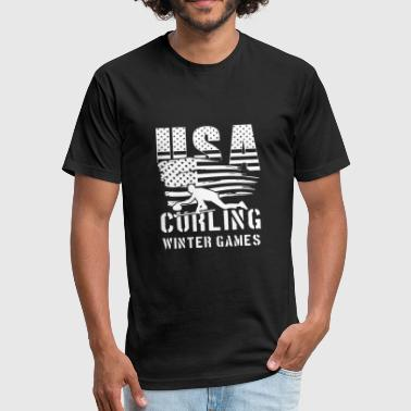 Us Ski Team USA Curling Winter Games - world team sport - Fitted Cotton/Poly T-Shirt by Next Level