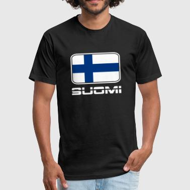 Suomi Flag Suomi Flag - Fitted Cotton/Poly T-Shirt by Next Level