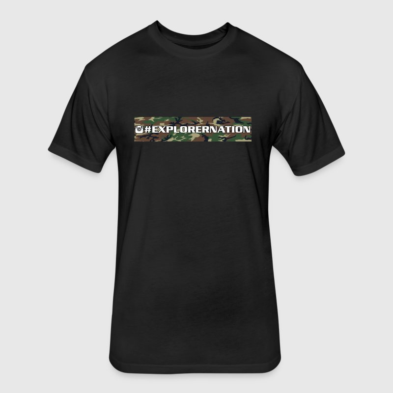 Explorernation text only camo - Fitted Cotton/Poly T-Shirt by Next Level