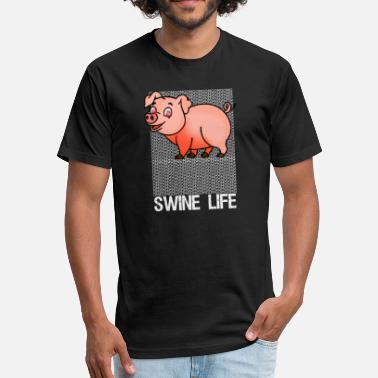 Swine Fever Funny Swine Life OMG Pig Tee - Fitted Cotton/Poly T-Shirt by Next Level