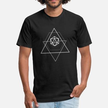 Dnd Minimalist Geometric Polyhedral D20 Dice Tabletop - Fitted Cotton/Poly T-Shirt by Next Level