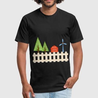 Barn Farm Baby farm barn trees windmill simple gift idea - Fitted Cotton/Poly T-Shirt by Next Level