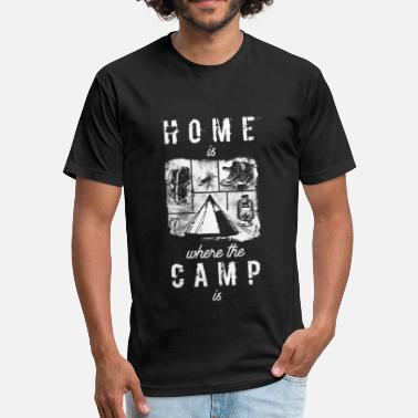 Home is where the camp is Outdoor Adventure Design - Fitted Cotton/Poly T-Shirt by Next Level