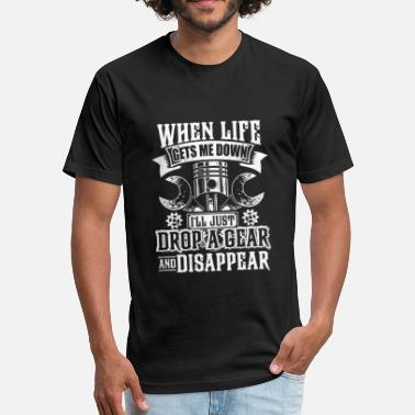 Sportbike Funny Motorcycle - Mens Drop a Gear and Disappear Funn - Fitted Cotton/Poly T-Shirt by Next Level