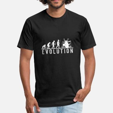 Drum Evolution Drum - Evolution of Man and Drums - Fitted Cotton/Poly T-Shirt by Next Level