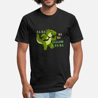 Funny Dabbing Dinosaurs Fa Ra Ra T-Shirts - Fitted Cotton/Poly T-Shirt by Next Level