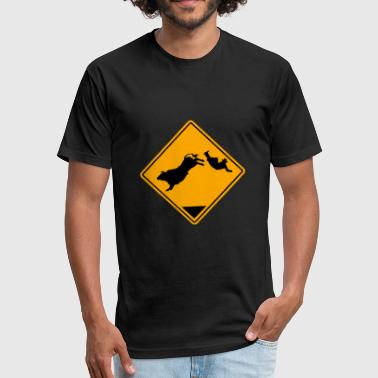Rodeo - Bullrider Road Sign - Fitted Cotton/Poly T-Shirt by Next Level