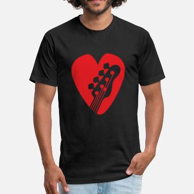 Guitar Shape Bass Guitar Head In Heart-Shaped Bassist Pick rd - Fitted Cotton/Poly T-Shirt by Next Level