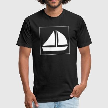 Sail Boat with two sails - Fitted Cotton/Poly T-Shirt by Next Level