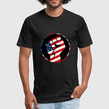 Usa Fists USA-Flag with fist motive! Present Idea - Fitted Cotton/Poly T-Shirt by Next Level