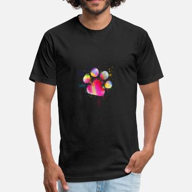 Dog Face Printed Beautiful Paw Print Watercolor Splash Dog - Fitted Cotton/Poly T-Shirt by Next Level