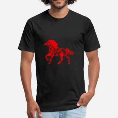 Red Stallion GIFT - HORSE RED - Fitted Cotton/Poly T-Shirt by Next Level