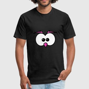 Pink Eye Eyes with beak and eyebrows pink - Fitted Cotton/Poly T-Shirt by Next Level