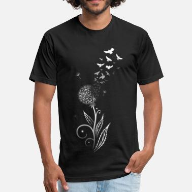 Flying Dandelion Filigree dandelion with flying birds. - Unisex Poly Cotton T-Shirt