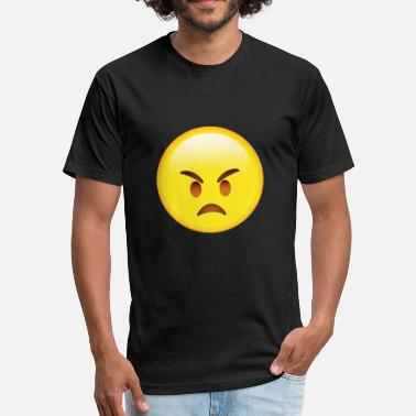 Moji Angry Face E-moji T-shirt - Funny E-moji gifts - Fitted Cotton/Poly T-Shirt by Next Level