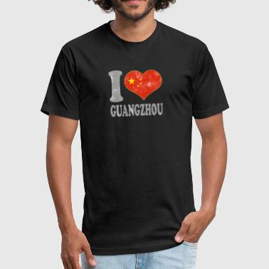 I Love Guangzhou China Chinese Flag Pride - Fitted Cotton/Poly T-Shirt by Next Level