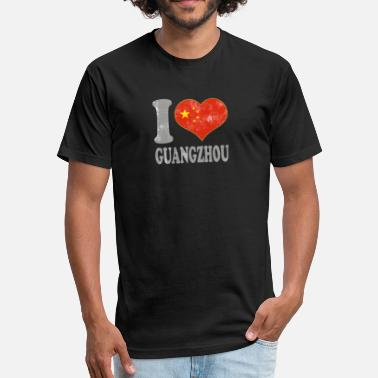 Guangzhou I Love Guangzhou China Chinese Flag Pride - Fitted Cotton/Poly T-Shirt by Next Level