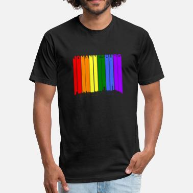 Rainbow Pride Johannesburg Skyline Rainbow Gay Pride - Fitted Cotton/Poly T-Shirt by Next Level