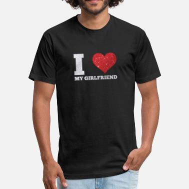 February I Love My Girlfriend I Love My Girlfriend Glittery Valentines February - Fitted Cotton/Poly T-Shirt by Next Level