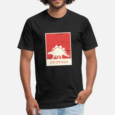 Japanese Letters Stegosaurus In Japanese | Dinosaur Gift - Fitted Cotton/Poly T-Shirt by Next Level