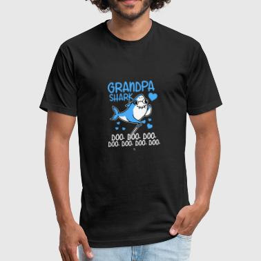 Grandpa shark gift - Fitted Cotton/Poly T-Shirt by Next Level