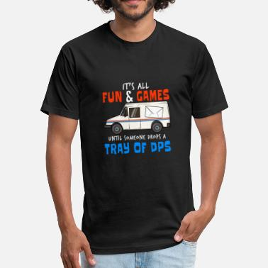 Post Office Post Offices Tray DPS Delivery Service Truck Gift - Fitted Cotton/Poly T-Shirt by Next Level
