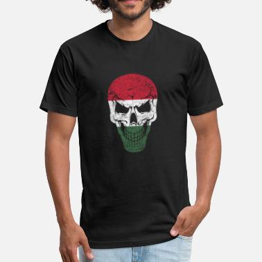 Balaton Skull Hungary Hungarian Nation Flag Gift - Fitted Cotton/Poly T-Shirt by Next Level