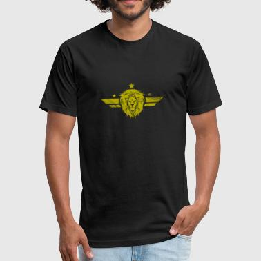 Lion Badge Symbol army style - Fitted Cotton/Poly T-Shirt by Next Level