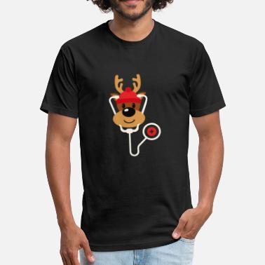Nursing Christmas Cute Reindeer Nurse Christmas - Fitted Cotton/Poly T-Shirt by Next Level