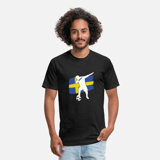 Swedish T-Shirts - Swedish soccer player dabbing - Unisex Poly Cotton T-Shirt black