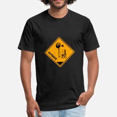 Australia Outback Outback Road Sign - Fitted Cotton/Poly T-Shirt by Next Level