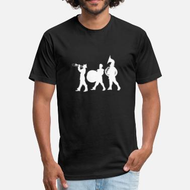 White Silhouette Silhouette of A Marching Band White - Fitted Cotton/Poly T-Shirt by Next Level