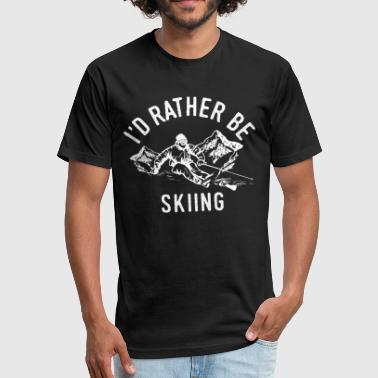 Skiing Skier Ski Apres Ski Funny Cool Quote Gift - Fitted Cotton/Poly T-Shirt by Next Level