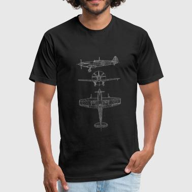 Spitfire airplane blueprint - Fitted Cotton/Poly T-Shirt by Next Level