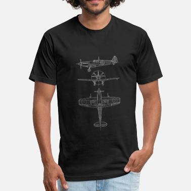 Aviation Spitfire airplane blueprint - Fitted Cotton/Poly T-Shirt by Next Level