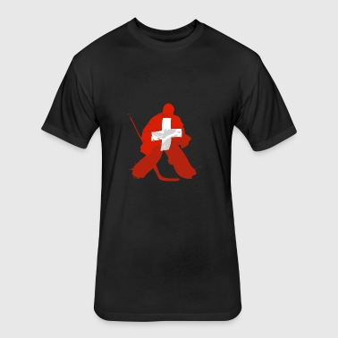 Hockey Keeper - Swiss Flag - Fitted Cotton/Poly T-Shirt by Next Level