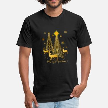 Gold Christmas Tree gold christmas trees and reindeer - Fitted Cotton/Poly T-Shirt by Next Level